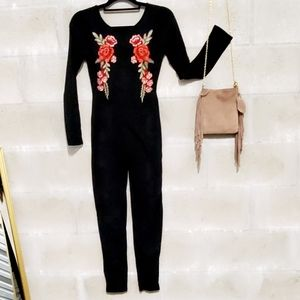 Rose embroidered one piece romper jumpsuit NWT